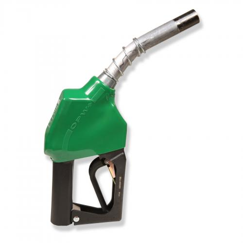 11A Series Green B5 Diesel Automatic Nozzle With 3/4 Inch NPT Inlet, 2-Piece Hand Insulator, And Aluminum Spout, Without Hold-Open Rack. UL 2586 Listed.