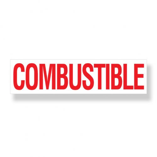 Decal  Combustible 3 Inch X 12 Inch Red On White
