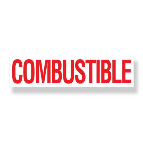 Decal   Combustible  6 Inch  x 24 Inch