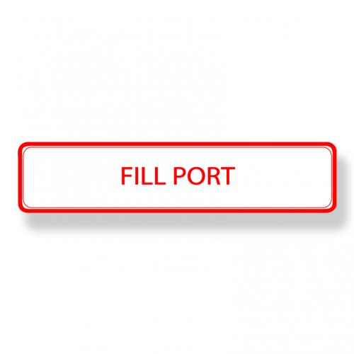 1-1/2 Inch X 6-3/4 Inch Label - Fill Port - Red On White Vinyl