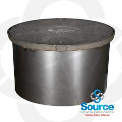 18 Inch With 10 Inch Base Watertight Manhole Cast Iron Cover With 11-1/4 Inch Skirt