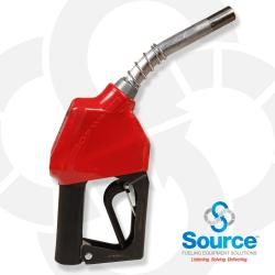 11AP Series Red E10 Unleaded Automatic Nozzle With 3/4 Inch NPT Inlet, 2-Piece Hand Insulator, And Aluminum Spout, Without Hold-Open Rack. UL 2586 Listed.