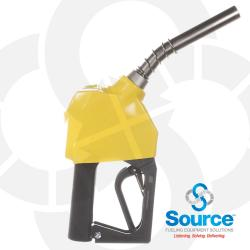 11BP Series Yellow E85 Ethanol Unleaded Pressure-Sensing Automatic Prepay Nozzle With 3/4 Inch NPT Inlet, 2-Piece Hand Insulator, Aluminum Spout, And 2-Position Hold-Open Rack. UL 2586 Listed.