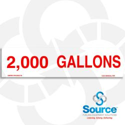 2,000 Gallons Decal, 12 Inch x 3 Inch, Red Text/White Background