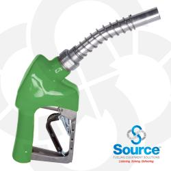Green Xs Pressure Activated Light Duty Diesel Automatic Nozzle 3/4 Inch Inlet 3-Notch Hold Open Clip. Ul Listed.