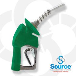 Green XS Pressure Activated Light Duty Diesel Automatic Nozzle, 3/4 Inch Inlet, Flow Limiter, 3-Notch Hold Open Clip. UL Listed.