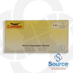Disposable Gloves  Nitrile  Large  Blue, Box of 100
