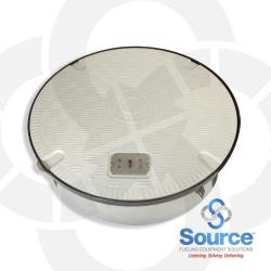 39-1/2 Inch Fiberglass Composite Plain Grey Cover Manhole With Key Lift Provision 10 Inch Skirt