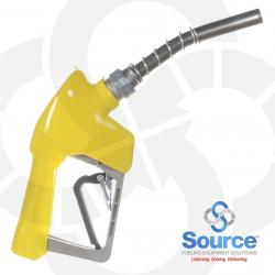 Yellow Xs Pressure Activated E85 Automatic Nozzle 3/4 Inch Inlet Spout Bushing Splash Guard 3-Notch Hold Open Clip. Ul Listed.