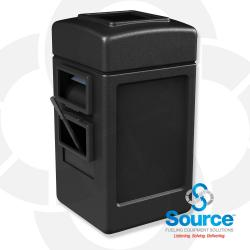 28 Gallon Square Waste Container with Windshield Service Center (Black)