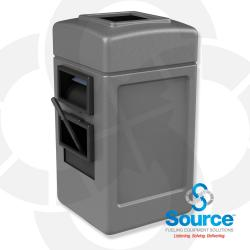 28 Gallon Square Waste Container With Wndshield Service Center (Gray)