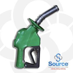 7HB Series Green Diesel/B20 Pressure-Sensing Automatic Prepay Nozzle With 1 Inch NPT Inlet, 1-Piece Hand Insulator, Aluminum Spout With Spout Ring, And 3-Position Hold-Open Rack. UL 2586 Listed.