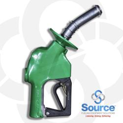 7HB Series Green Diesel/B5 Pressure-Sensing Automatic Prepay Nozzle With 1 Inch NPT Inlet, 1-Piece Hand Insulator, Aluminum Spout With Spout Ring, And 3-Position Hold-Open Rack. UL 2586 Listed.