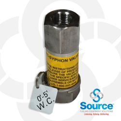 1/2 Inch NPT Stainless Steel Inline Anti-Siphon Valve With Thermal Expansion Relief, 0-5 Foot W.C.