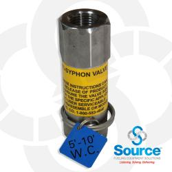 1/2 Inch NPT Stainless Steel Inline Anti-Siphon Valve With Thermal Expansion Relief, 5-10 Foot W.C.