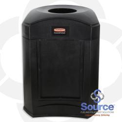 9W02 Landmark Series Funnel Top With Panel Frame & 39589 Rigid Liner 35 Gallon Black Trash Can