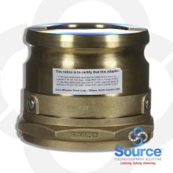 4 Inch Brass Vapor Adapter Swivel, 4 Inch Female NPSM X 4 Inch Cam And Groove