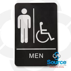 6 Inch X 9 Inch High Impact Styrene Single Faced ADA Sign, White Text/Black Background, Men Pictogram/Handicap