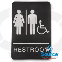 6 Inch X 9 Inch High Impact Styrene ADA Sign, White Text/Black Background, Men/Women Pictogram Handicapped