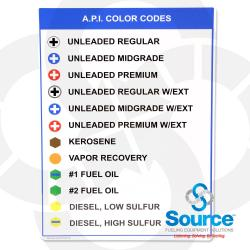 18 Inch x 18 Inch API Color Code Chart For Fuels, Aluminum