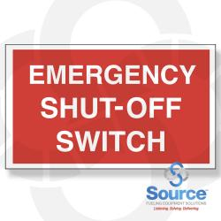 6 Inch X 10 Inch Decal - Single Faced - Fire Red Reverse On White - Emergency Shut-Off Switch