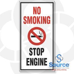 8 Inch X 16 Inch Decal - Single Faced - Fire Red/Black On White Background - No Smoking/Stop Engine