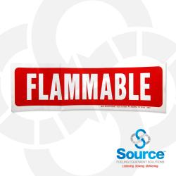 4 Inch X 13-1/2 Inch Decal, White On Red - Flammable