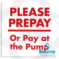 Please Prepay Or Pay At The Pump Decal, 6 Inch x 6 Inch, Red On White