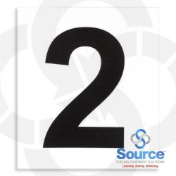 4 Inch x 3-1/2 Inch Pump Number Decal, Black On White - 2