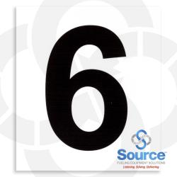 4 Inch x 3-1/2 Inch Pump Number Decal, Black On White - 6
