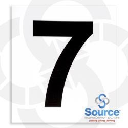 4 Inch x 3-1/2 Inch Pump Number Decal, Black On White - 7