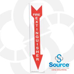 18 Inch x 4 Inch Decal, White On Red, Fire Extinguisher / Arrow Down