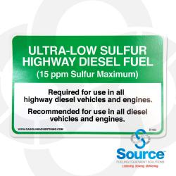 4 Inch X 6 Inch Decal Api Suggested - Ultra Low Sulfur Highway Diesel Fuel 15 Ppm