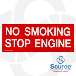 4 Inch x 10 Inch Decal, White On Red - No Smoking