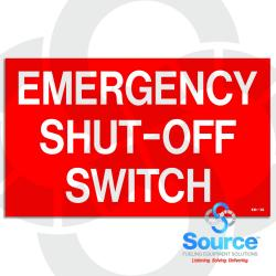 5 Inch x 5 Inch Decal, White/Red  EMERGENCY SHUT-OFF SWITCH