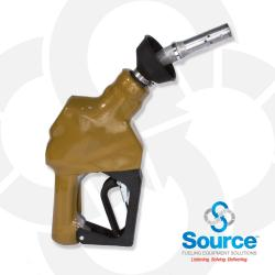 Gold Unleaded Vacuum Assist Automatic Nozzle M34 Inlet With Hold Open Device. Ul Listed.