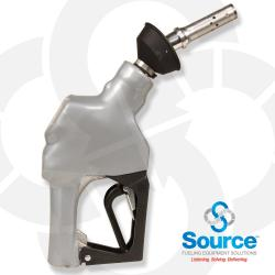 Silver Unleaded Vacuum Assist Automatic Nozzle M34 Inlet With Hold Open Device. Ul Listed.