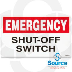 Emergency Shut Off Switch Decal 3 Inch X 5 Inch Black, White And Red