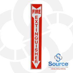 4 Inch X 24 Inch Aluminum Sign - Vertical - Single Faced - Fire Red Reverse On White - Fire Extinguisher (Inside Arrow)