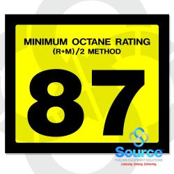 2-1/2 Inch X 3 Inch Octane Decal Yellow With Black Letters - 87