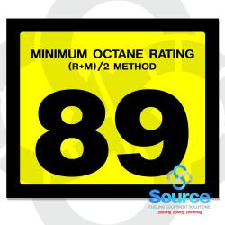 2-1/2 Inch X 3 Inch Octane Decal Yellow With Black Letters - 89