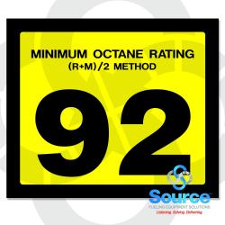 2-1/2 Inch X 3 Inch Octane Decal Yellow With Black Letters - 92