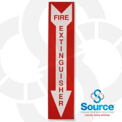 """4 Inch X 18 Inch Decal, Red """"Fire Extinguisher"""" Text On White Arrow With Red Background"""