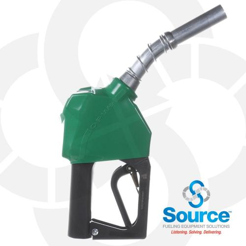 11B Series Green B5 Diesel Pressure-Sensing Automatic Prepay Nozzle With 3/4 Inch NPT Inlet, 2-Piece Hand Insulator, Aluminum Spout, And 2-Position Hold-Open Rack. UL 2586 Listed.