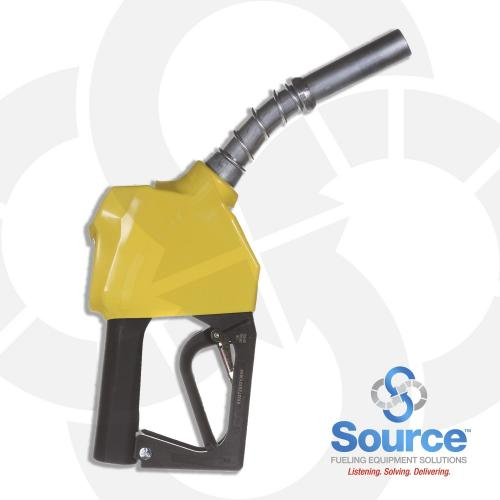 11B Series Yellow B5 Diesel Pressure-Sensing Automatic Prepay Nozzle With 3/4 Inch NPT Inlet, 2-Piece Hand Insulator, Aluminum Spout, And 2-Position Hold-Open Rack. UL 2586 Listed.