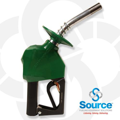 11BP Series Green E10 Unleaded Pressure-Sensing Automatic Prepay Nozzle With 3/4 Inch NPT Inlet, 2-Piece Hand Insulator, Aluminum Spout, Fillguard Splash Guard, And 2-Position Hold-Open Rack. UL 2586 Listed.