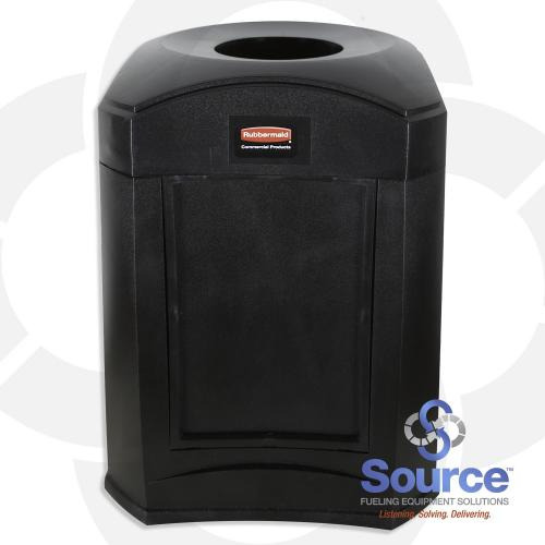 9W02 Landmark Series Funnel Top With Panel Frame & 39589 Rigid Liner 35 Gallon Black Trash Can