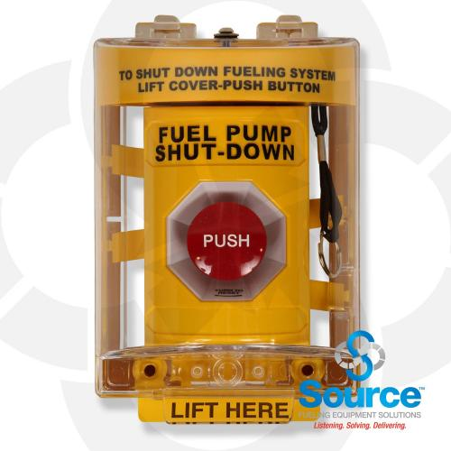 Emergency Stop Operator Twist To Release With Lift-Up Clear Cover & Alarm (Outdoor Rated)